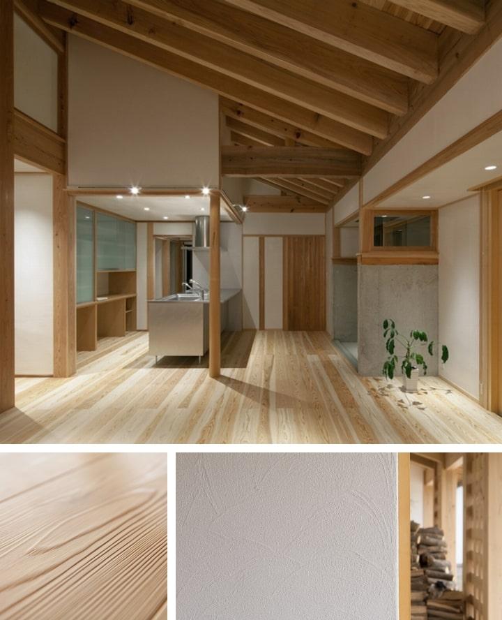 漆喰・国産無垢の床板などの自然素材