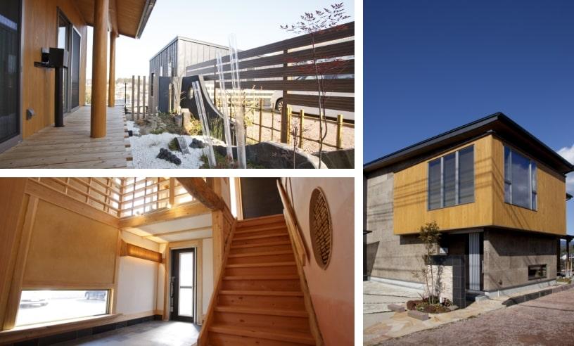 天然素材100%である炭化コルクを外壁に使用